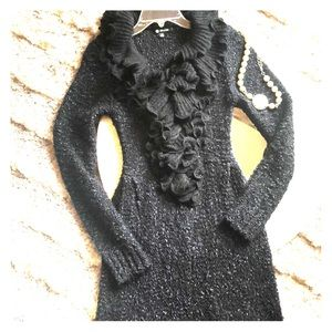 Milano black ruffled sweater dress-small